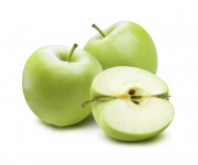 2 whole green apples and cut half piece composition isolated on white background as package design element